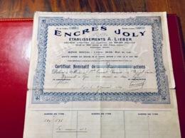 Établissements  A. LIEBER (  ENCRES   JOLY ). --------Certificat  De  10  Actions  De  500 Frs - Industrial