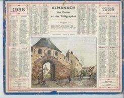 ALMANACH DES POSTES  1938 ( CALENDRIER ) CARCASSONNE - ENTREE DU CHATEAU - Calendriers
