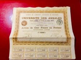 UNIVERSITÉ   DES  ANNALES  -----Action  De  100 Frs - Shareholdings