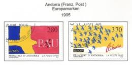 Andorra (Französische Post)  1995  Mi.Nr. 477 / 478 , EUROPA CEPT - Frieden Und Freiheit - Gestempelt / Fine Used / (o) - Europa-CEPT