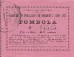 LE HAVRE : Billet De Tombola émis Lors De La Cavalcade De Bienfaisance - Liste Des Lot - Itinéraire Des Chars Décrit Au - Billets De Loterie