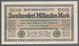 P121 Ro118f DEU-143b. 200 Milliard Mark 15.10.1923 XF RARE - 200 Miljard Mark