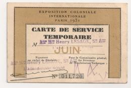 1931 PARIS CARTE DE SERVICE TEMPORAIRE EXPOSITION COLONIALE INTERNATIONALE B767 - Documenti Storici