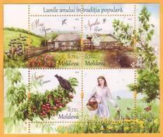 2018 Moldova Moldavie Folk Traditions. Months Of The Year. April. May. June. Crane. Swallow. Spring. - Moldawien (Moldau)