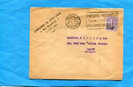 Marcophilie-lettre -cad  Paris 47-1927 Timbre Seul N°223 Semeuse Ligne 50/60 - Poststempel (Briefe)