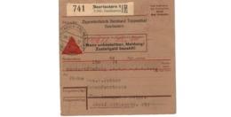 Allemagne  - Colis Postal  - Départ Saarlautern  -     Zigarettenfabrik Bernhard Toppenthal    -   4-5-43 - Allemagne