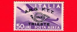 Nuovo - MNH - ITALIA - Trieste - AMG FTT - 1948 - Convegno Filatelico Di Trieste -  POSTA AEREA - Stretta Di Mano, Capro - Posta Aerea