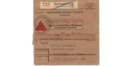 Allemagne  - Colis Postal  - Départ Saarlautern  -     Zigarettenfabrik Bernhard Toppenthal    -   3-5-43 - Allemagne