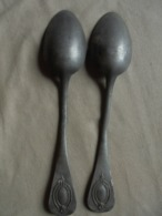 Ancien - 2 Cuillères à Soupe (en Plomb Ou Aluminium ?) - Lepels