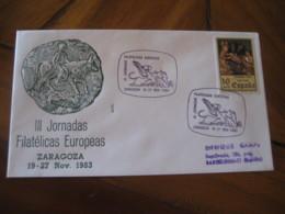 ZARAGOZA 1983 Toros Toro Bull Vaca Cow Mythology Europa Europeism Cancel Cover SPAIN - Mucche