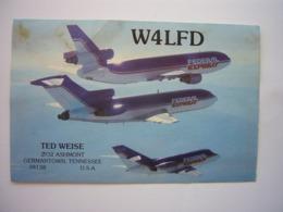Avion / Airplane / FEDERAL EXPRESS / DC-10 - Boeing B727 - Dassault Falcon / Airline Issue / Carte QSL - 1946-....: Era Moderna
