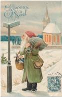 JOYEUX NOEL - Père Noël , Poteau Indicateur, Carte Gauffrée - Santa Claus