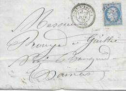 Lac Cad  PORT D'ENVAUX  29 Janv 1872 Pour SAINTES  TB - Marcophilie (Lettres)