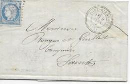 Lac Cad  PORT D'ENVAUX  9 Juin 1873  Pour SAINTES  TB - Marcophilie (Lettres)