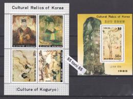1985 ART- PAINTINGS From The KOGURYO ERA (Mi-2682/85Kl.+Bl.204 ) Kl+S/S-MNH  NORTH KOREA - Arte