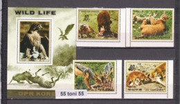 1984 Fauna WILD PREDATORY ANIMALS And BIRDS ( Mi-2510/13+bl.187) 4v+S/S   NORTH KOREA - Corée Du Nord