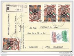 217 - 37 - Carte Recommandée Envoyée De Piacenza D'Adige En Suisse  1990 - 1981-90: Poststempel