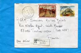 Marcophilie--lettre-GABON- REC  Cad 1986 - 2 Stamps-N°A263 -DEGAS-tableau Aux Coourse+588 Animal-pangolin - Gabon (1960-...)