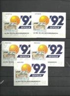 ESPAÑA- H.B.3191 EXPO SEVILLA-92 -5 Hojitas Nuevas Sin Fijasellos Precio Debajo Valor Facial (según Foto) - Blocs & Hojas