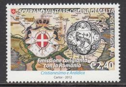 2012 SMOM Malta Joint Issue Romania Maps @ Below Face Value - Malta (Orde Van)