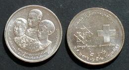 Thailand Coin 2 1993 100th Thai Red Cross Y279 UNC - Thailand
