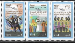 EGYPT, 2019, MNH, EUROMED, COSTUMES OF THE MEDITERRANEAN, ANCHORS,3v - Celebrations