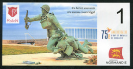 """WW2 Billet Fantaisie Normandie - Edition Privé 2019 """"Spécimen 1 Rollon / 75e Anniversaire Du Débarquement"""" WWII - Specimen"""