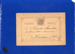 ##(DAN199)-Spain 1887- 10 Centimos Postal Card  Used From Barcelona To Firenze-Italy - Storia Postale