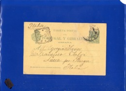 ##(DAN199)-Spain 1896- 5 Centimos Postal Card For Portugal Y Gibraltar Used From Madrid To Lucca-Italy, Squared Cancel - Storia Postale