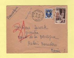 Pneumatique - 1954 - Invalides Pour Le Palais Bourbon - 1921-1960: Moderne
