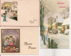 L32d509 -  - Lot De Trois Petites Cartes - Noël, Bonne Année Et Pâques - Holidays & Celebrations
