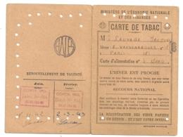1942 CARTE DE TABAC / SECOURS NATIONAL  B771 - Documents Historiques