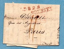 "BRUXELLES 1828 MARQUE ENTREE  ""PAYS BAS PAR VALENCIENNES"" 3 PHOTOS - 1815-1830 (Dutch Period)"
