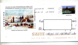 Pap Champagne  Flamme Chiffree Sous Code  Illustré Suippes Centre Guerre 1914/18 - Prêts-à-poster:  Autres (1995-...)