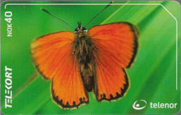Norway - Telenor - Oransjegullvinge  Butterfly - N-208 - 07.2001, 47.000ex, Used - Norwegen