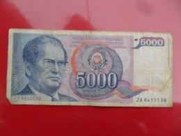 Yugoslavia-Jugoslavija 5000 Dinara 1985, P-93r, Za, Re, R - - - 100314 - - - - Jugoslavia