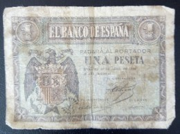 1 Peseta Banknote, Used, Postagefree - 1-2 Pesetas