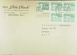 """DDR: Brief Aus Der Zeit Der Währungsunion-portogenau Mit MWSt. Dresden 3.7.90 Abs: PGH """"Blitz Blank"""" Knr: 2484(5) - [6] République Démocratique"""