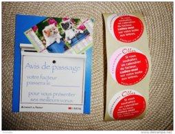 Avis De Passage Du Facteur Pour Presenter Almanach ( Décor Chats) + 3 Stickers Autocollants - Calendriers