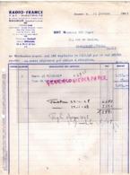 49- SAUMUR- FACTURE RADIO FRANCE TSF ELECTRICITE- MARCONI- 5 RUE DUPETIT THOUARS -1948 - Petits Métiers