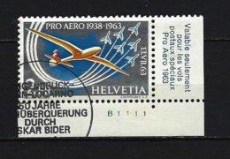"""SCHWEIZ Mi-Nr. 780 Eckrandstück """"Pro-Aero""""-Gedenkpostflüge 1963 Gestempelt - Schweiz"""