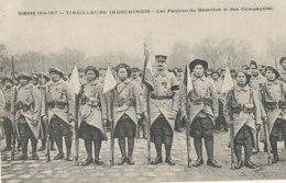 AN 815 /  C P A   -INDOCHINOIS- GUERRE 1914-1917 TIRAILLEURS INDOCHINOIS - LES FANIONS DU BATAILLON ET DES COMPAGNIES - Militaria