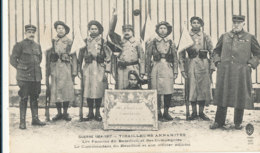 AN 817 /  C P A   -INDOCHINOIS- GUERRE 1914-1917 TIRAILLEURS ANNAMITES - LES FANIONS DU BATAILLON  LE COMMANDANT DU BATA - Militaria