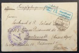 Petite Enveloppe De COLMAR ELSASS Pour PRISONNIER DE GUERRE Allemand Dépôt D'Officiers De BARCELONNETTE Nov 1918 - Guerre De 1914-18