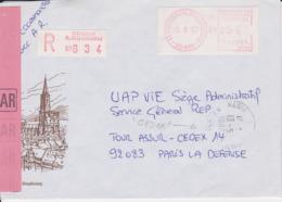 Lettre Recommandée 1987 TàD Manuel PARIS LA DEFENSE 92 CEDEX + EMA Camp 67 STRASBOURG PLACE DE LA CATHEDRALE - Poststempel (Briefe)