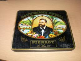 Old Tin Box Dannemann Brasil Pierrot De Lux - Contenitori Di Tabacco (vuoti)