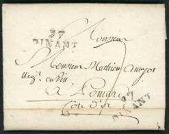 """1812 """"97 / DINANT"""" (27*10.5) En Noir S/ Lettre Datée De Bouvignes Le 25/01/12 Adressée à Pommard. Voir Description - 1794-1814 (Französische Besatzung)"""