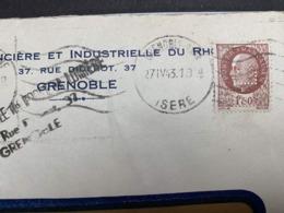27.04.1943 PETAIN PERFIN FL S/ LETTRE SOCIETE FONCIERE ET INDUSTRIELLE RHONE GRENOBLE PERF PERFORÉ CACHET - Francia