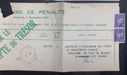 1943 PETAIN PERFIN FL S/ LETTRE SOCIETE FORCE LUMIERE GRENOBLE CUSY PERF PERFORÉ CACHET HEXAGONAL ANNECY HEXAGONALE - Francia