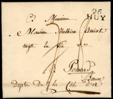 """1809 """"96/ HUY"""" En Noir S/ Lettre Datée D'Havelange Le 30/08/1809 Et Adressée à Pommard (Bourgogne). Voir Description - 1794-1814 (French Period)"""